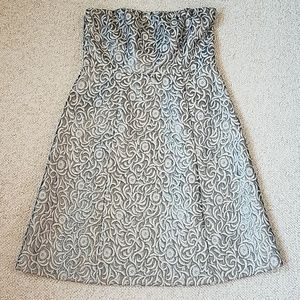 Limited Silver Brocade Strapless Dress